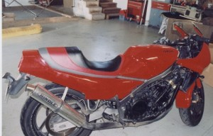 Black leather motorcycle seat
