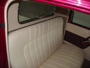 Custom leather bench seat